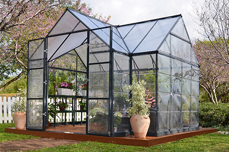 A picture of a hobby greenhouse kit assembled in a yard with plants growing on shelving inside.