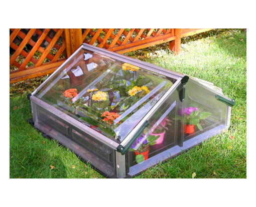 An assembled cold frame greenhouse