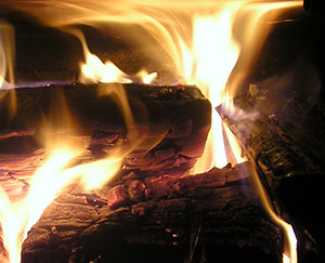 Fire logs burning.