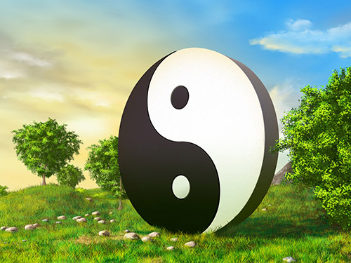 An illustration of a scenic landscape with a large yin yang symbol in the middle.